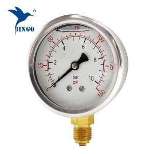60 मिमी स्टेनलेस स्टील के मामले पीतल कनेक्शन नीचे प्रकार दबाव गेज 150psi तेल भरने दबाव गेज